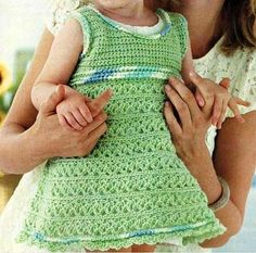Green Baby Dress free crochet graph pattern