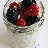 Overnight Oats  1/2 cup rolled oats 1/2 cup coconut milk 1 tablespoon chia seeds 2 tablespoons slivered almonds 1/2 tablespoon maple syrup 1 teaspoon vanilla extract