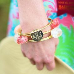 Monogrammed Coral Wire and Stone Bangle Set