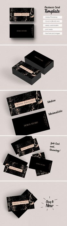 $8 Rose Gold Business Card @Etsy is classy, sophisticated and elegant visiting card templates made in minimal style, looks professional and clean. Modern and clever design mixes several materials: rose gold foil, white and black marble and silver, copper, black glitter. You can easily customize and use templates pack for personal identity, name cards, professional branding, marketing, calling cards, launches, events, invites, promotion. Print ready. Free fonts.