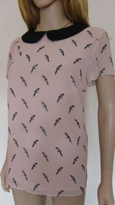 TED BAKER BNWT ~Parrot Print~ Top UK 14 4 PARTY Peter Pan Collar Birds Pale Pink #TEDBAKER #Party