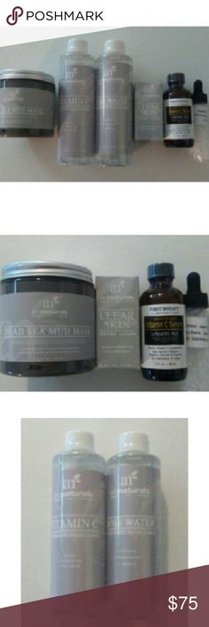 Art Naturals facial set of 5 items 2 Toners ( Rose Water ) and ( Vitamin C) 1 Dead Sea Mud Mask 1 Drying Lotion and 1 Vitamin C Serum all New unopened unused. ArtNaturals  Other