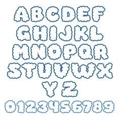 Cloud Cuttable Font Alphabet Stickers, Printable Stickers, Cute Stickers, Printable Alphabet Letters, Note Doodles, Cute Alphabet, Font Packs, Cute Fonts, Good Notes
