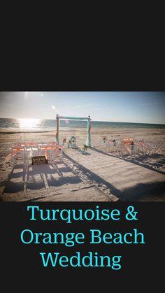 Orange And Turquoise, Orange Beach, Beach Ceremony, Beach Weddings, Ceremony Decorations, Silk Flowers, Wedding Flowers, Wedding Photos, Florida