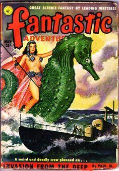 Pulp FANTASTIC ADVENTURES May 1951 - L. Sprague de Camp, Virgil Finlay art