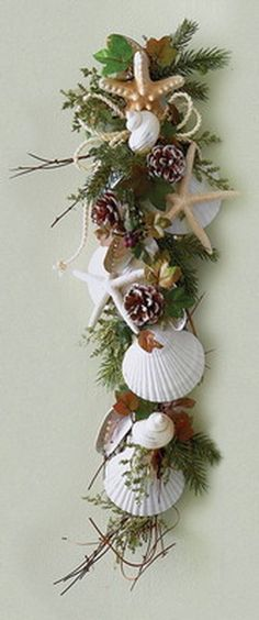 Holiday White Shell Vertical Swag ♦ Perfect for a Coastal Christmas Seashell Crafts, Beach Crafts, Diy And Crafts, Driftwood Crafts, Seashell Garland, Seashell Art, Christmas Holidays, Christmas Wreaths, Xmas