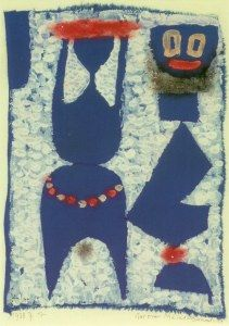 Klee Pau (1879-1940), Aus einer Masken-Sammlung (From a Masks Collection), 1938 (414), Watercolour and oil paint on painted chalk glue primer on cotton on cardboard. 29.5cm H x 22cm W.