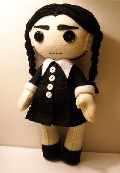 Felt Wednesday Addams inspired custom plush by SouthernGothica, $45.00