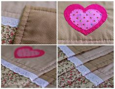 placemat details: blanket stitch appliqued heart and running stitch