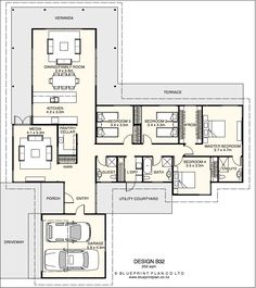 T shaped plan with four bedrooms