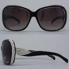 a548d4c30387 Black and Silver Rhinestone Sunglasses