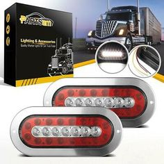 """Red 10 LED 4/"""" Round Truck Trailer Brake Stop Turn Tail Lights with Brackets 2"""