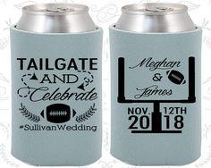 Tailgate and Celebrate, Wedding Giveaways, Football Wedding, Football Favors, Tailgate Wedding,  Personalized Koozies  (394)