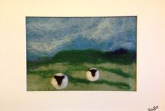 Felted mini landscapes nature scenes cards art wool felt hare moon