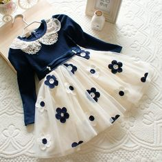 2017 New Lace Princess Dresses Long Sleeve Baby girls Casual Dress Clothes Kids Party Vestidos Size 2 color 40 Baby Girl Frocks, Frocks For Girls, Little Girl Dresses, Girls Dresses, Girls Frock Design, Kids Frocks Design, Baby Frocks Designs, Kids Gown, Baby Girl Dress Patterns