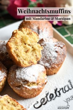 Mandarine und Marzipan verleihen diesen saftigen Muffins den Geschmack nach Weihnachten. Sie passen prima zum Frühstück aber auch zum Nachmittagskaffee.
