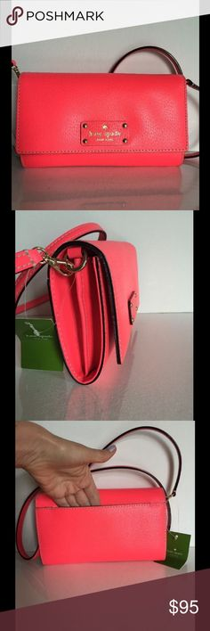 """NWT Kate Spade Natalie Wellesley Leather Bay Kate Spade Natalie Wellesley Crossbody Bag  Color: empirered(642) Light gold tone hardware, genuine leather body Magnetic snap closure, fabric lining Optional adjustable strap with 23"""" drop for crossbody wear  Kate Spade new york gold signature in the front Inside 1 zip pocket, 8 credit card slots, and 2 open multifunction pockets Measures approximately 8 (L)'' x 6 (H)'' x  2 (D)'' Comes with care card, gift bag, dust bag kate spade Bags Crossbody…"""