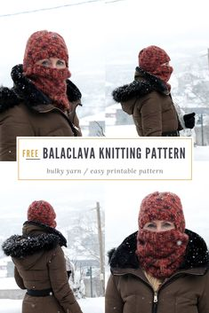 Bulky knit balaclava pattern - by Handy Little Me. Make a super cozy knitted balaclava for the colder weather with this free printable pattern. Free Knitting Patterns For Women, Beginner Knitting Patterns, Easy Knitting, Knitting Ideas, Knitting Needles, Knitted Balaclava, Knitted Hats, Crochet Hats, Crochet Quilt Pattern
