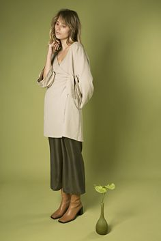 Linen Long Wrap DressLong Kimono sleeve dress which wraps and ties to the front ...
