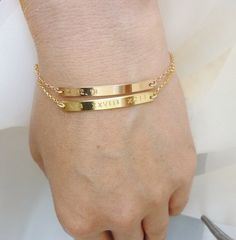 Nameplate Bracelet Gold Initial Name Bar By Momentusny