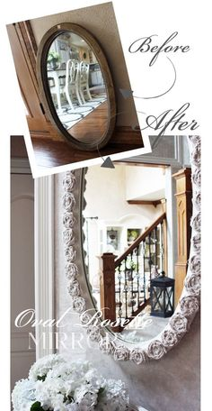 Thrift store mirror made over using dropcloth rosettes from Confessions of a…
