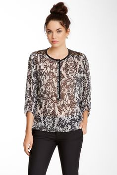 Yuli Silk Contrast Blouse by Trina Turk on @nordstrom_rack