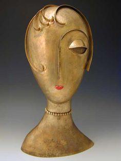 Franz Hagenauer Bronze Female Head Sculpture