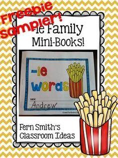 FREEBIE Sampler Printable Phonics Mini-Books for the -ie Family #FREE #TPT