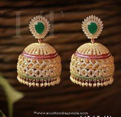 Fancy Jhumka Designs, Jhumkas with colorful stones, Imitation Jhumkas with price, Imitation Jhumkas from Mansaa Fashions Gold Jhumka Earrings, Gold Earrings Designs, Indian Earrings, Jhumka Designs, Diamond Earrings, Necklace Designs, Sapphire Rings, Jewellery Earrings, India Jewelry