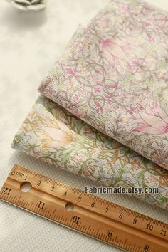 Light Tulip Flower Cotton Fabric Pink Purple Yellow by fabricmade