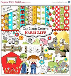 SALE 33% Off- Digital Scrapbooking: Farm Scrapbook Kit (Farm Clip Art), Instant Download         October 15, 2014 at 04:15PM