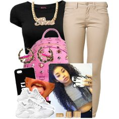 ✨ by trillest-queen on Polyvore featuring polyvore, fashion, style, ONLY, MCM, Joyrich, River Island, NIKE and clothing