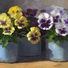 DPW Fine Art Friendly Auctions - Pansy Trio by Linda Jacobus