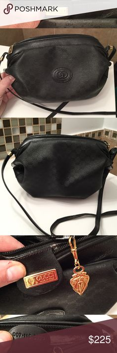 """GUCCI Barrel Purse Authentic Italy Black Logo Vintage 1980s or 90s authentic GUCCI black barrel purse shoulder bag. Made in Italy. All proper markings and authentication code. Small zippered pocket inside. Classic Gucci """"Gs"""" design on outside of the bag. Zipper closure. The strap has some wear. The interior has significant wear on the fabric (see photo). Gucci Bags Shoulder Bags"""