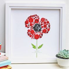 Personalised Large Poppy Button Framed Gift