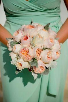 {A Lovely Bridesmaid's Bouquet Featuring Peach David Austin English Garden Roses & Dusty Miller}