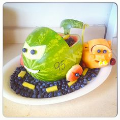Cars and mater watermelon cantelope fun for a little boys birthday party!