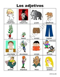 Spanish Adjective PICTURE Notes product from Spanish the easy way! on TeachersNotebook.com
