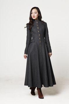 New Dunkelgrau Coat Big Sweep Reverskragen von Sophiaclothing