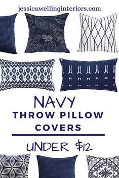 These navy blue pillows are cheap, modern, and stylish. The best part? They're less than $12 each! Cheap Throw Pillow Covers, Square Pillow Covers, Blue Pillow Covers, Pillow Cover Design, Navy Blue Throw Pillows, Blue Living Room Decor, Geometric Pillow, Contemporary Cottage, Modern Cottage