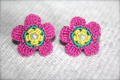 Crochet Flower Earrings Pink Teal and Green by CatWomanCrafts, $10.00
