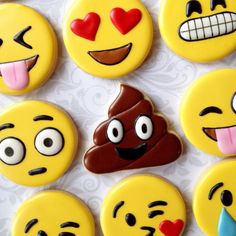 Fun Emoji / Emoticon cookies - One Dozen Decorated Sugar Cookies - Perfect for…