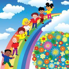 Children on rainbow slide. Vector art-illustration on a blue background. Free art print of Children on rainbow slide. Kids Background, Rainbow Background, Rainbow Cartoon, Cartoon Kids, Drawing For Kids, Art For Kids, Animal Art Projects, School Murals, Happy Children's Day