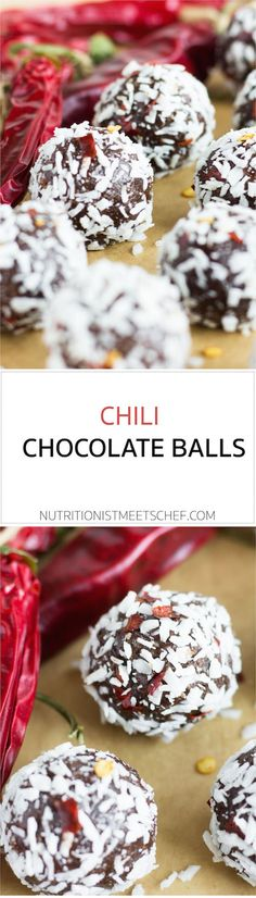 Chill chocolate balls. A raw treat with a nice kick from the chili