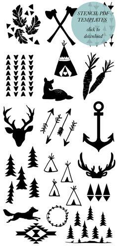 printable stencil, deer silhouette printable, baby stencils, templates free, stencil onesi, antlers diy, diy stencils, deer template, diy stencil template