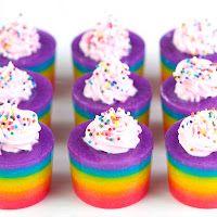 Rainbow Cake Jelly Shots (cake flavored vodka, lemonade, sweetened condensed milk, food coloring, frosting and sprinkles)