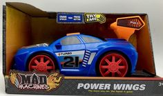 Toy Car Mad Machines Power Wings Sounds Motorized Vehicle Blue Turbo New #MadMachines