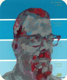 man with beard and glasses, by Jeff Wrench. acrylic on paint chip.