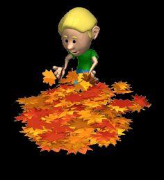 GIFs GIF: Boy Playing Leaves Animation Gif