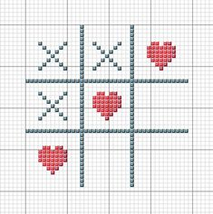 tic tac to with hearts cross stitch